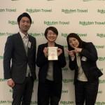 右スタッフ黒津と左楽天トラベルの営業ウーマン五井さんと一緒に